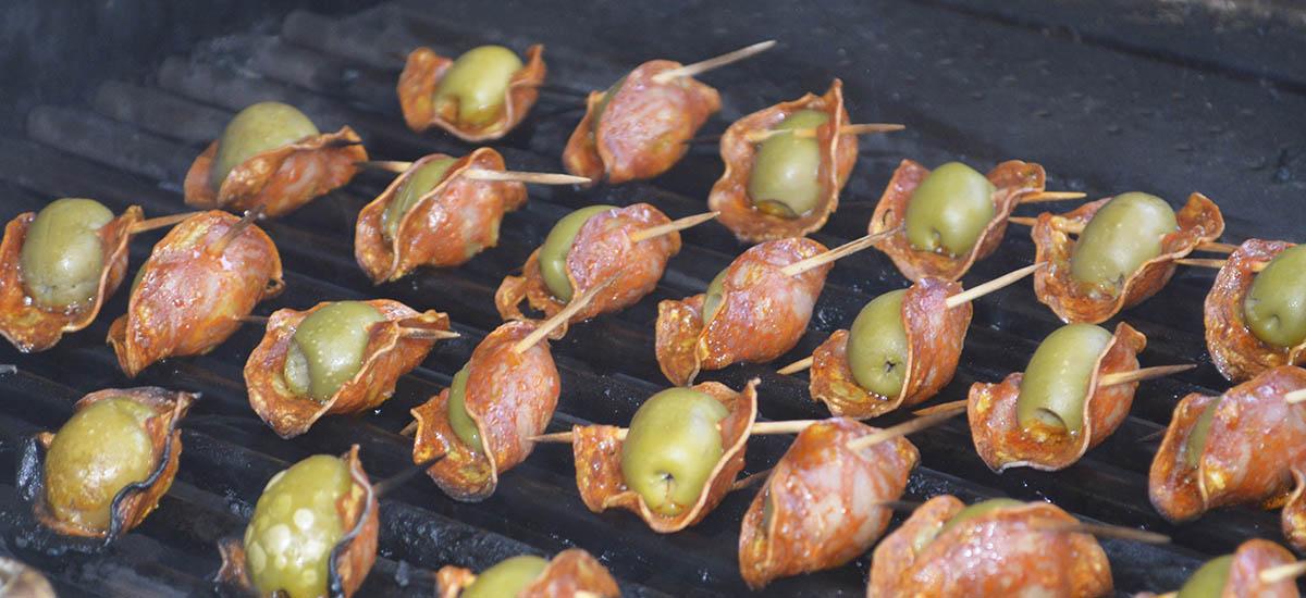 Oliven chorizo på grill